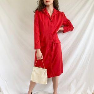 Vintage 80s ILGWU Union Red Button Chore Dress